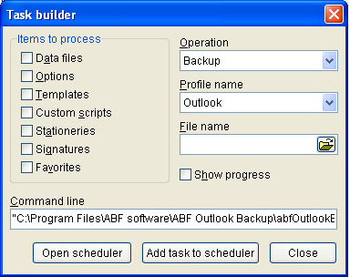 ABF Outlook Backup and ABF Outlook Express Backup, Backup Email Software Screenshot