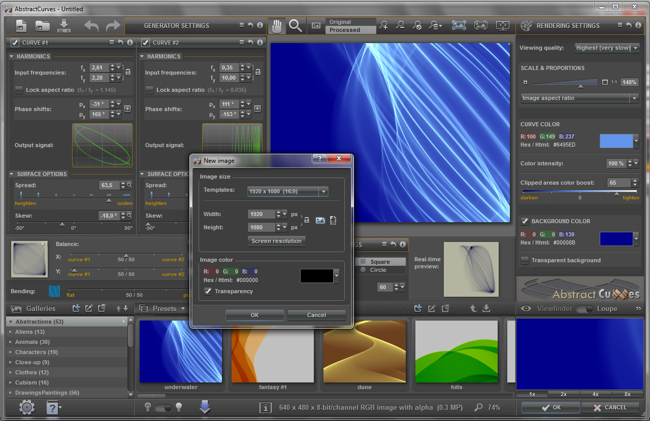 AbstractCurves, Graphic Design Software Screenshot