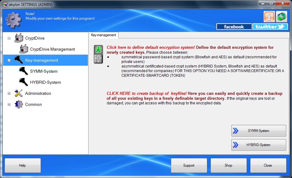 abylon CRYPTDRIVE, Security Software Screenshot