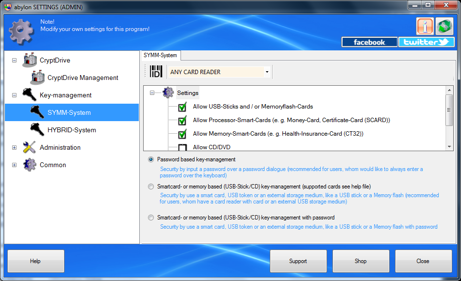 Access Restriction Software, abylon CRYPTDRIVE Screenshot