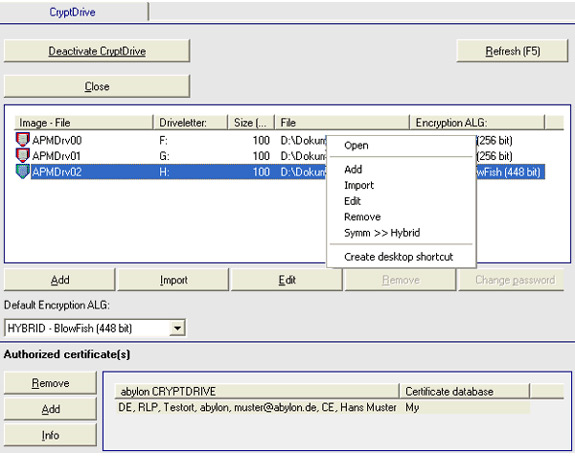 abylon CRYPTDRIVE, Hard Drive / USB Security Software Screenshot
