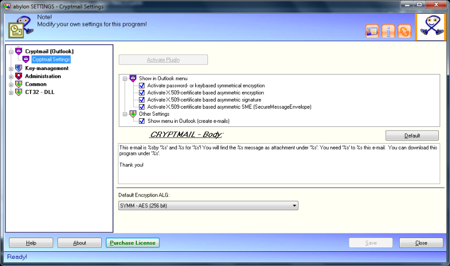 abylon CRYPTMAIL, Access Restriction Software Screenshot