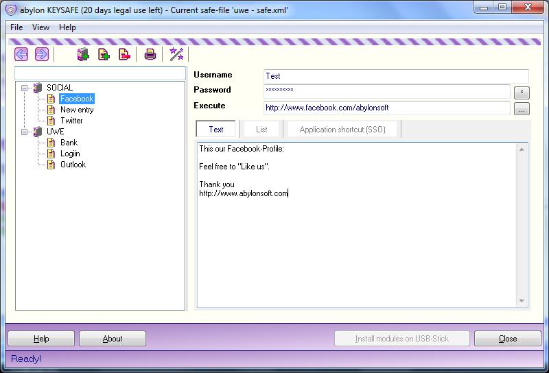 abylon KEYSAFE Screenshot