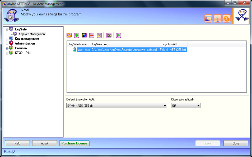 Security Software, abylon KEYSAFE Screenshot