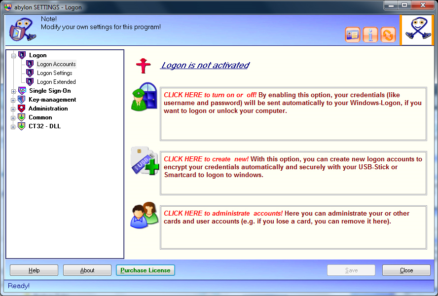 abylon LOGON, Access Restriction Software Screenshot