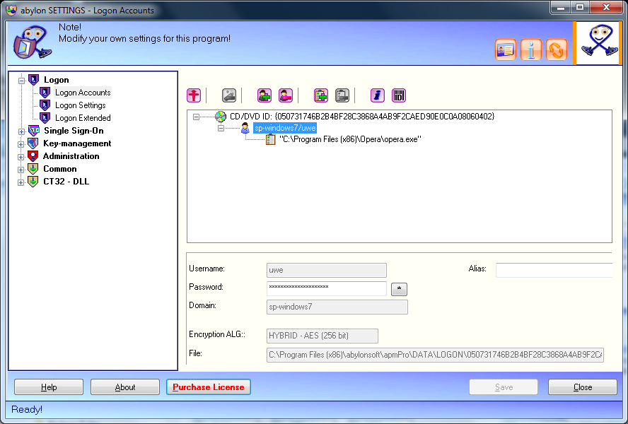 abylon LOGON, Security Software Screenshot