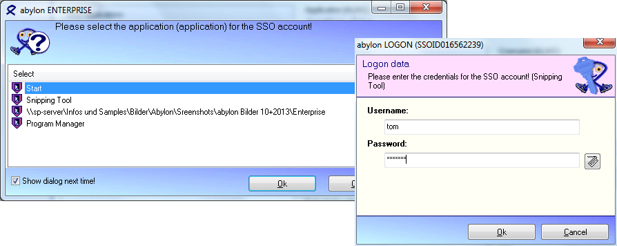 abylon LOGON, Security Software, Access Restriction Software Screenshot
