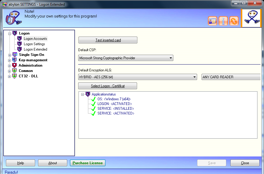 Security Software, abylon LOGON Screenshot