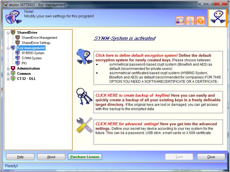 Access Restriction Software, abylon SHAREDDRIVE Screenshot