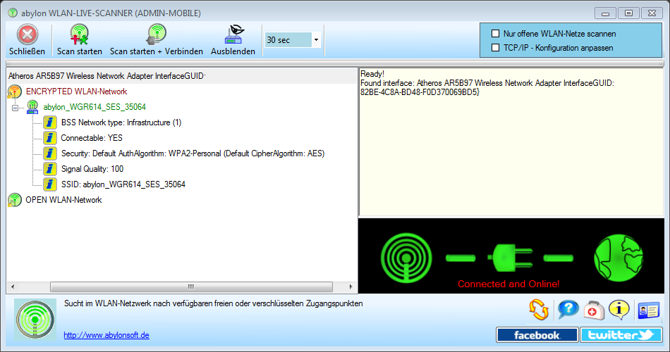 abylon WLAN-LIVE-SCANNER, Network Connections Software Screenshot