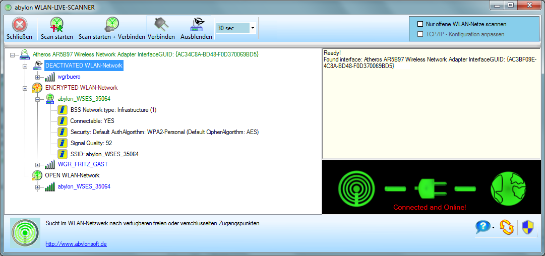 abylon WLAN-LIVE-SCANNER Screenshot