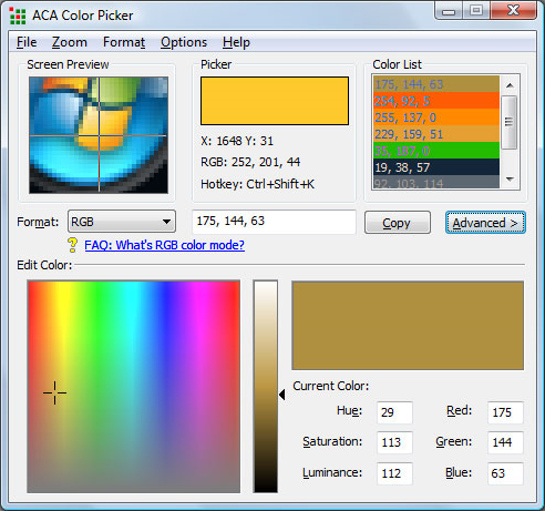 Color Selection Software Screenshot