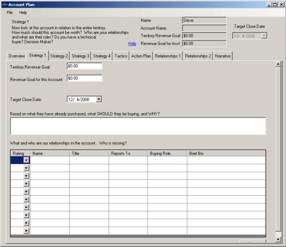 Account Plan 2008, Business & Finance Software Screenshot