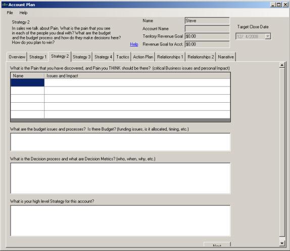 Account Plan 2008 Screenshot