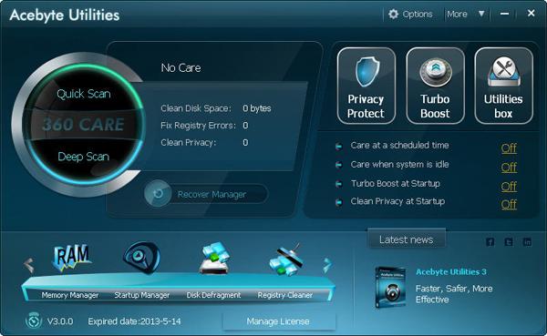Acebyte Utilities lifetime/1 PCs Screenshot