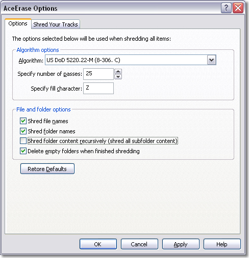 AceErase Pro File Shredder and History Eraser, Deletion Software Screenshot