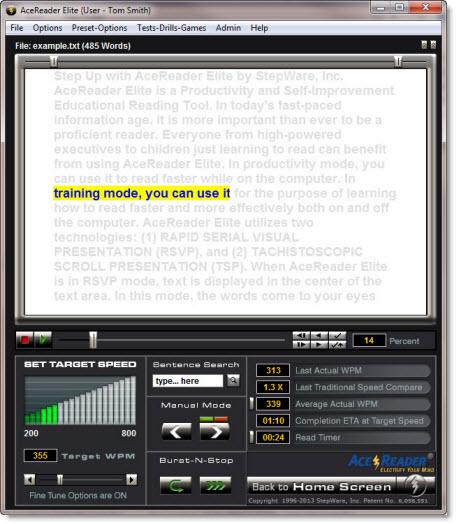 Hobby, Educational & Fun Software, AceReader Elite Screenshot