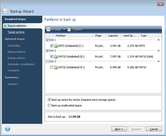 Acronis True Image Home 2009, Backup Disk Image Software Screenshot