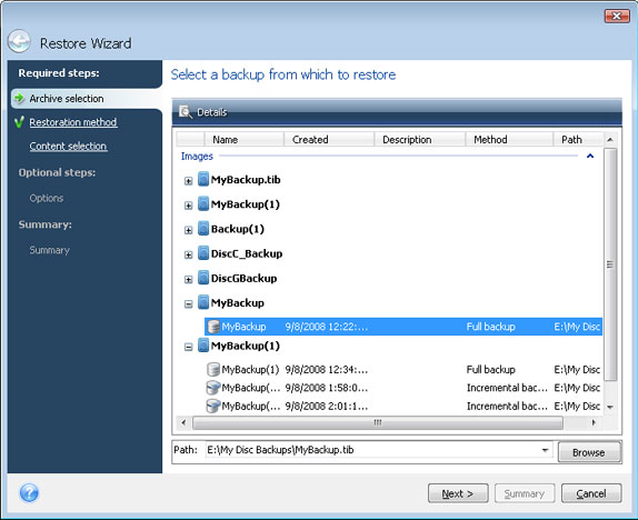 Backup Disk Image Software, Acronis True Image Home 2009 Screenshot