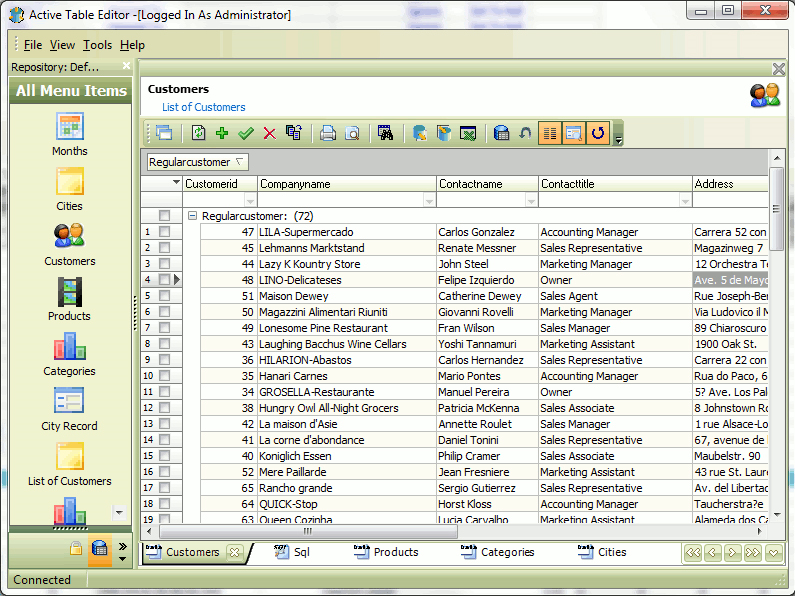 Active Table Editor, Database Software Screenshot