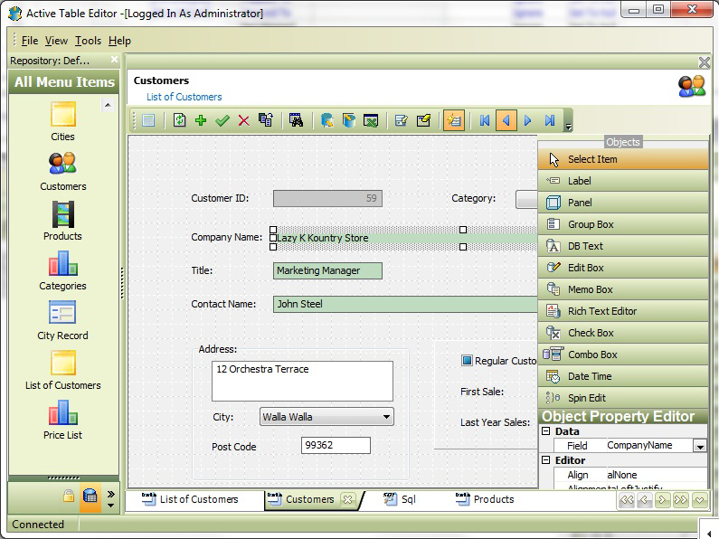 Development Software, Active Table Editor Screenshot