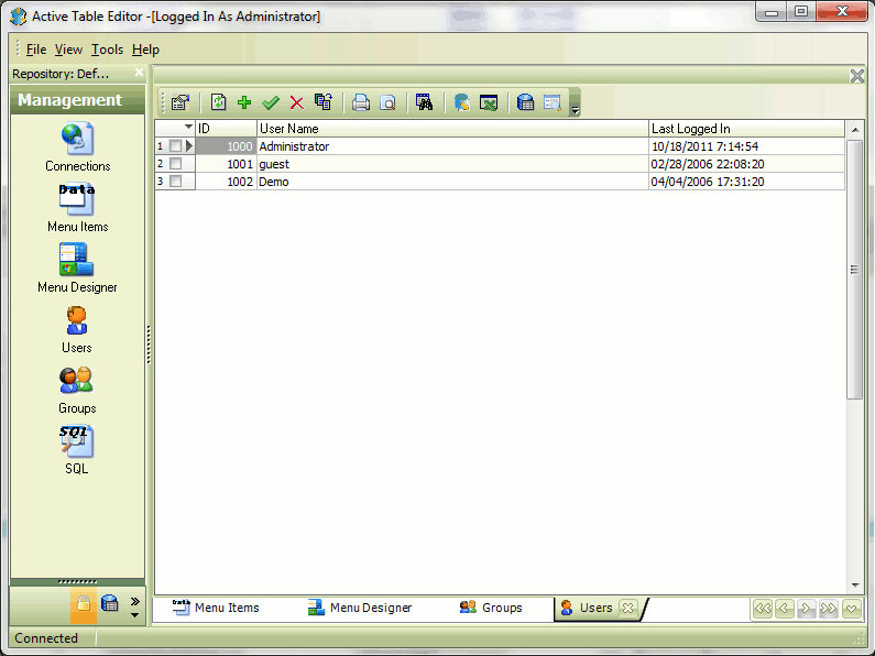 Database Software, Active Table Editor Screenshot