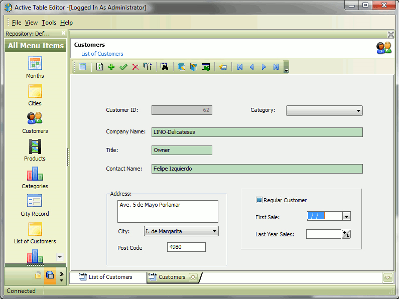 Active Table Editor Screenshot