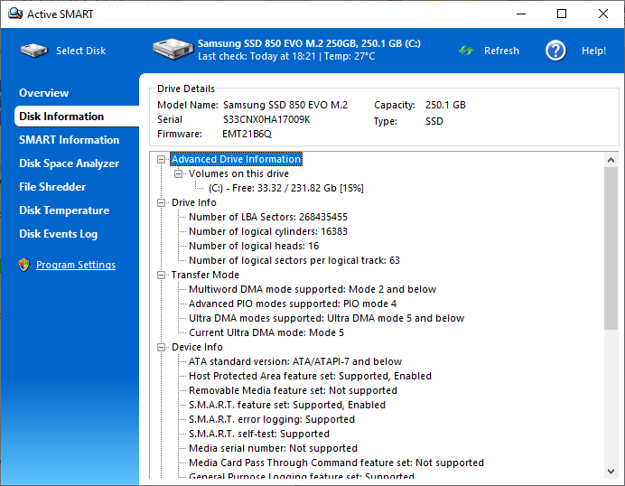 Hard Drive Software, ActiveSMART Screenshot