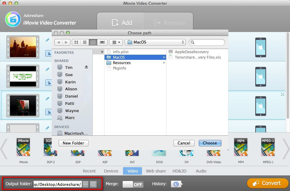 Adoreshare iMovie Video Converter for Mac, Video Converter Software Screenshot