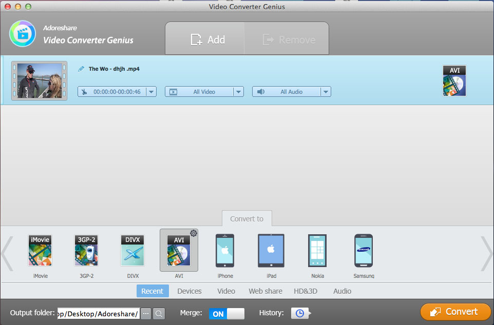 Adoreshare Video Converter Genius, Video Software Screenshot