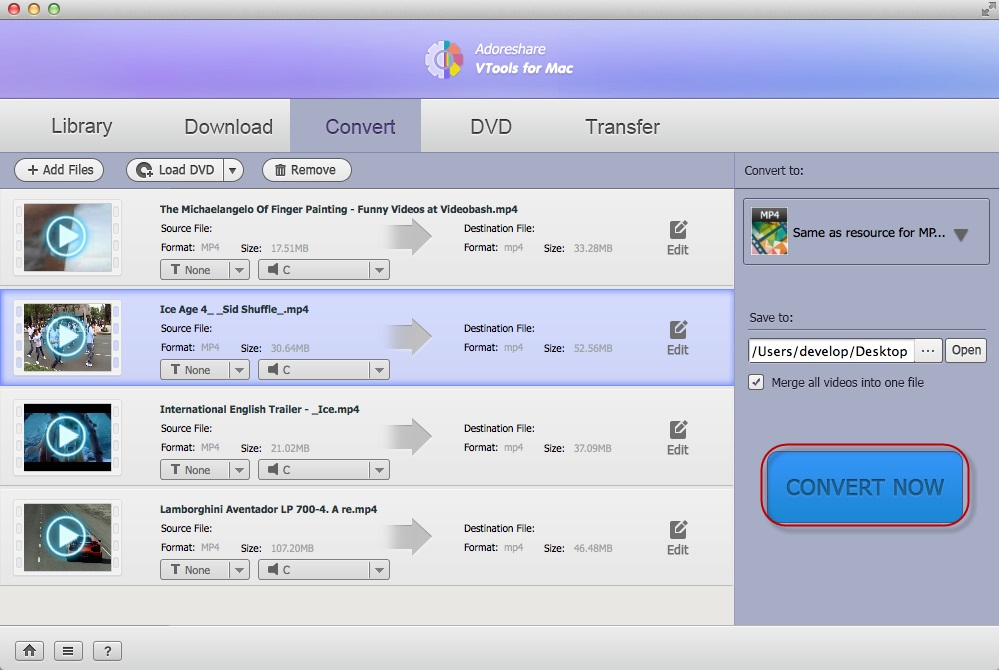 Adoreshare VTools for Mac, Video Converter Software Screenshot