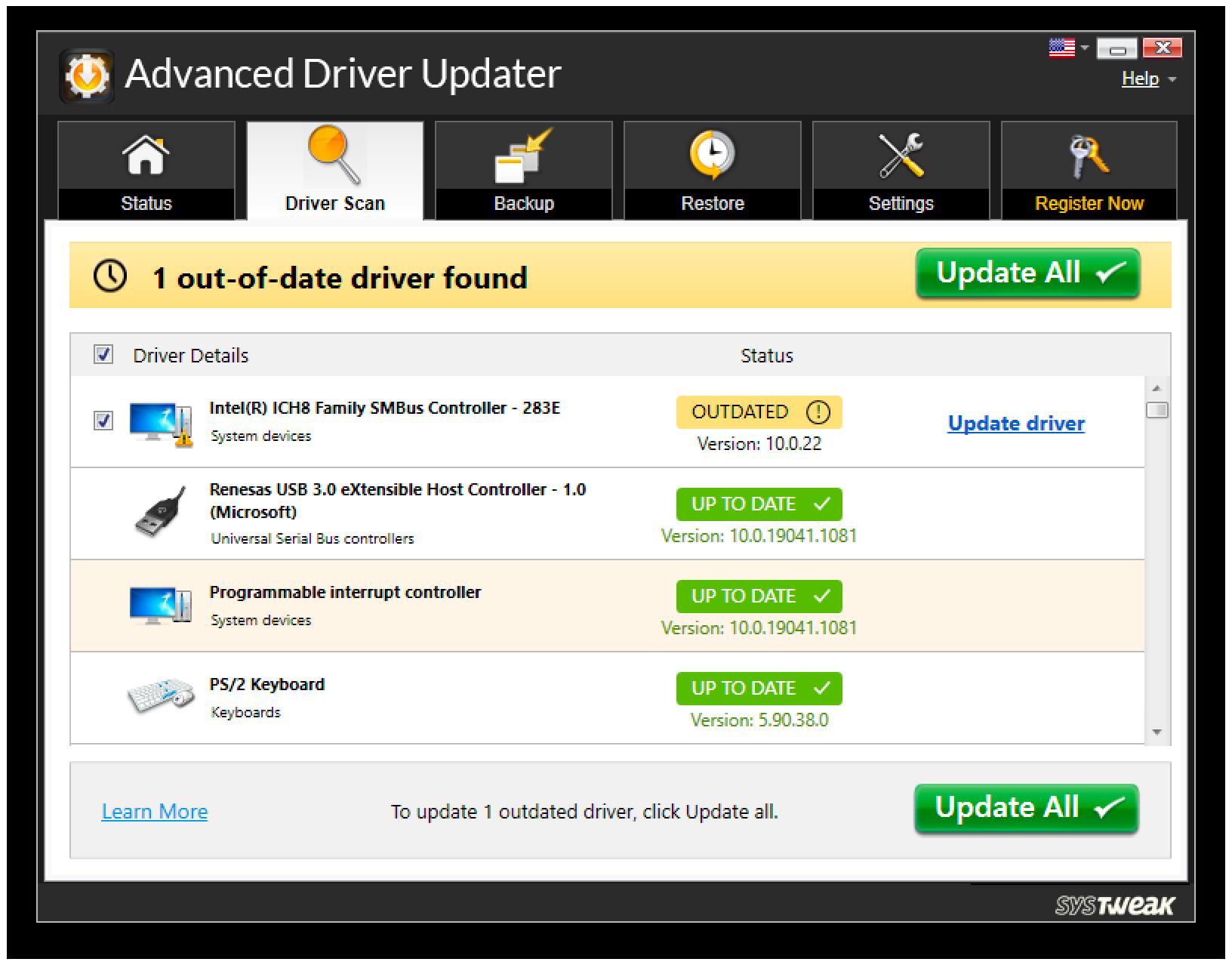 Advanced Driver Updater, PC Optimization Software Screenshot