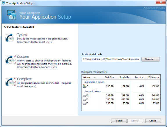 Advanced Installer Professional, Development Tools Software Screenshot