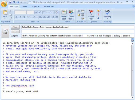 Advanced Quoting Add-In for Microsoft Outlook Screenshot