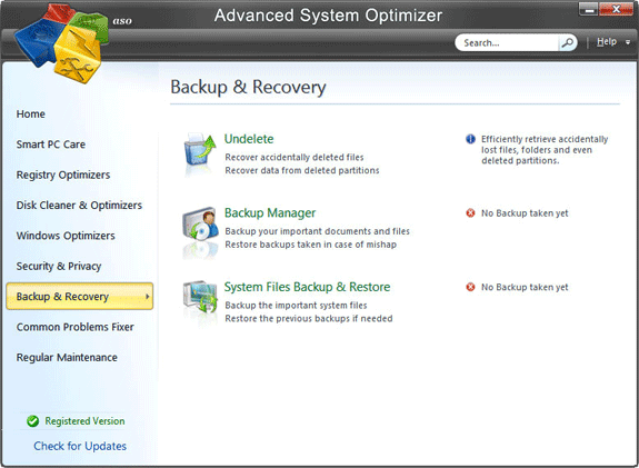 Advanced System Optimizer V3, Software Utilities Screenshot