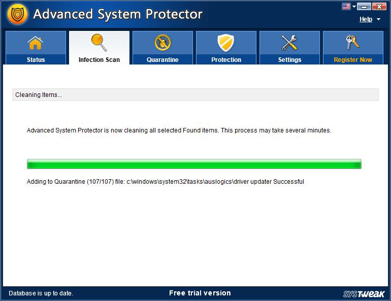 Advanced System Protector, Security Software Screenshot