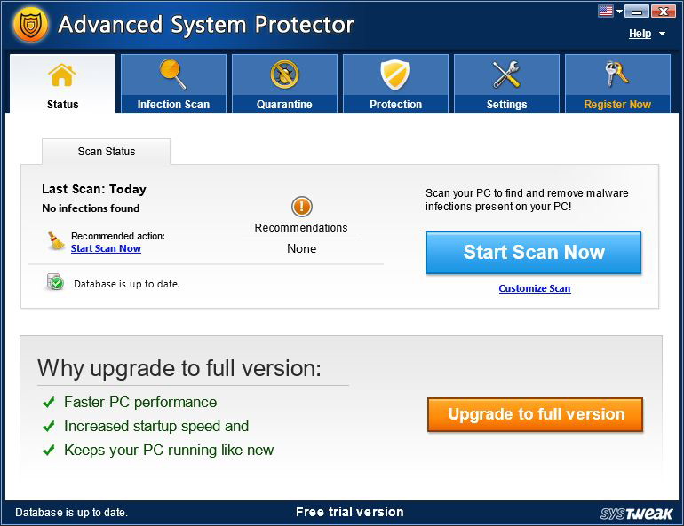 Security Software, Advanced System Protector Screenshot
