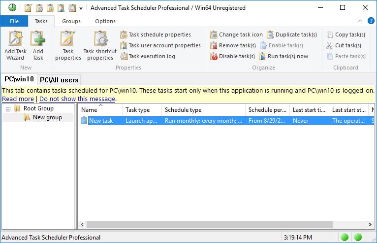 Advanced Task Scheduler Professional Screenshot