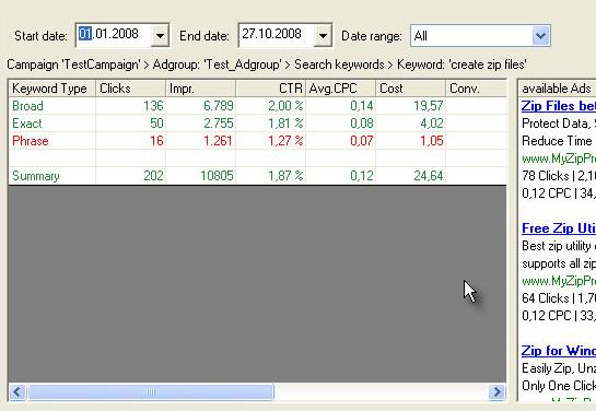 AdwordsReporter Enterprise, SEO / Keyword Software Screenshot
