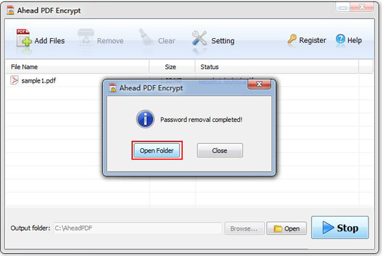 PDF Utilities Software, Ahead PDF Encrypt Screenshot