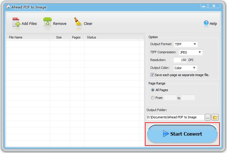Ahead PDF to Image Converter, Business & Finance Software Screenshot