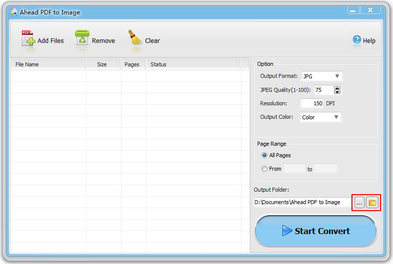 Ahead PDF to Image Converter, PDF Conversion Software Screenshot