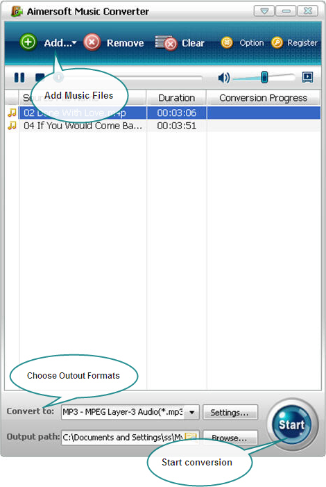 Aimersoft Music Converter Screenshot