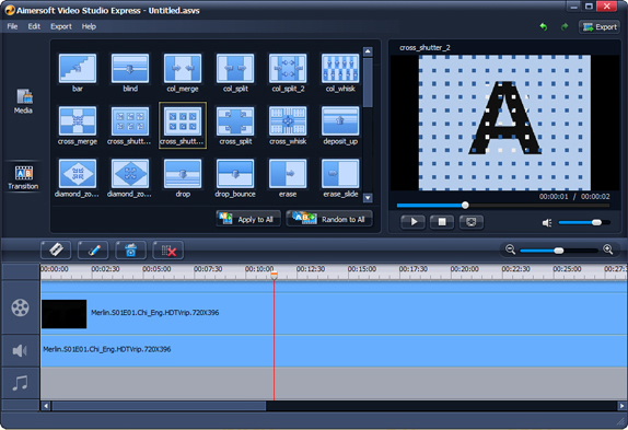 Aimersoft Video Studio Express, Video Editing Software Screenshot