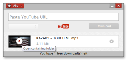 YouTube Downloader Software, Airy YouTube Downloader Screenshot