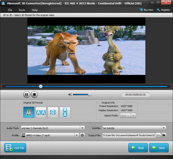 Aiseesoft 3D Converter, Video Converter Software Screenshot