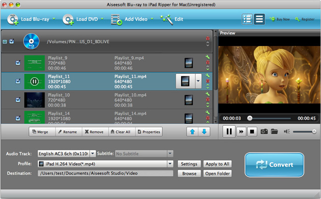 DVD Ripper Software, Aiseesoft Blu-ray to iPad Ripper Screenshot