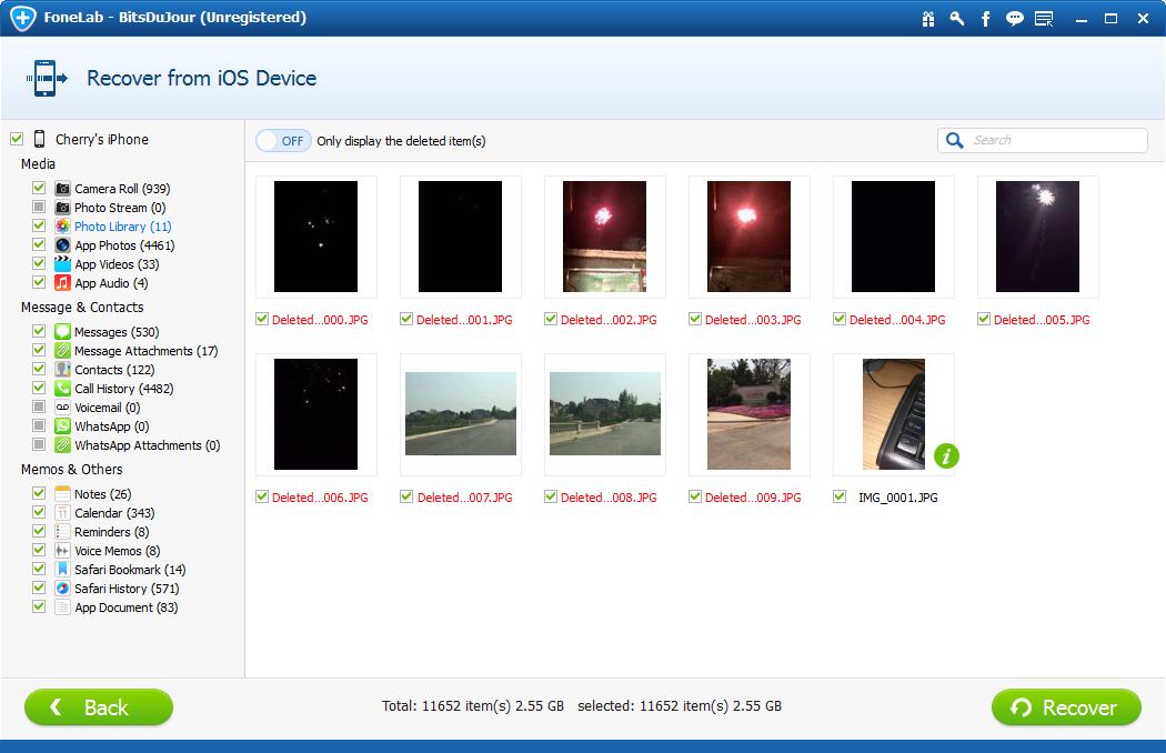 Aiseesoft FoneLab, Recovery Software Screenshot