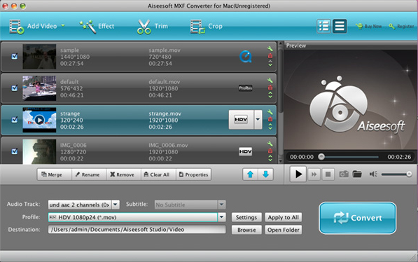 Video Software, Aiseesoft MXF Converter Screenshot