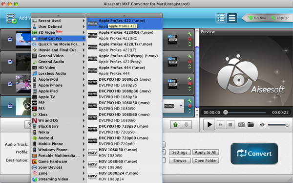 Aiseesoft MXF Converter for Mac - Video Converter Software for